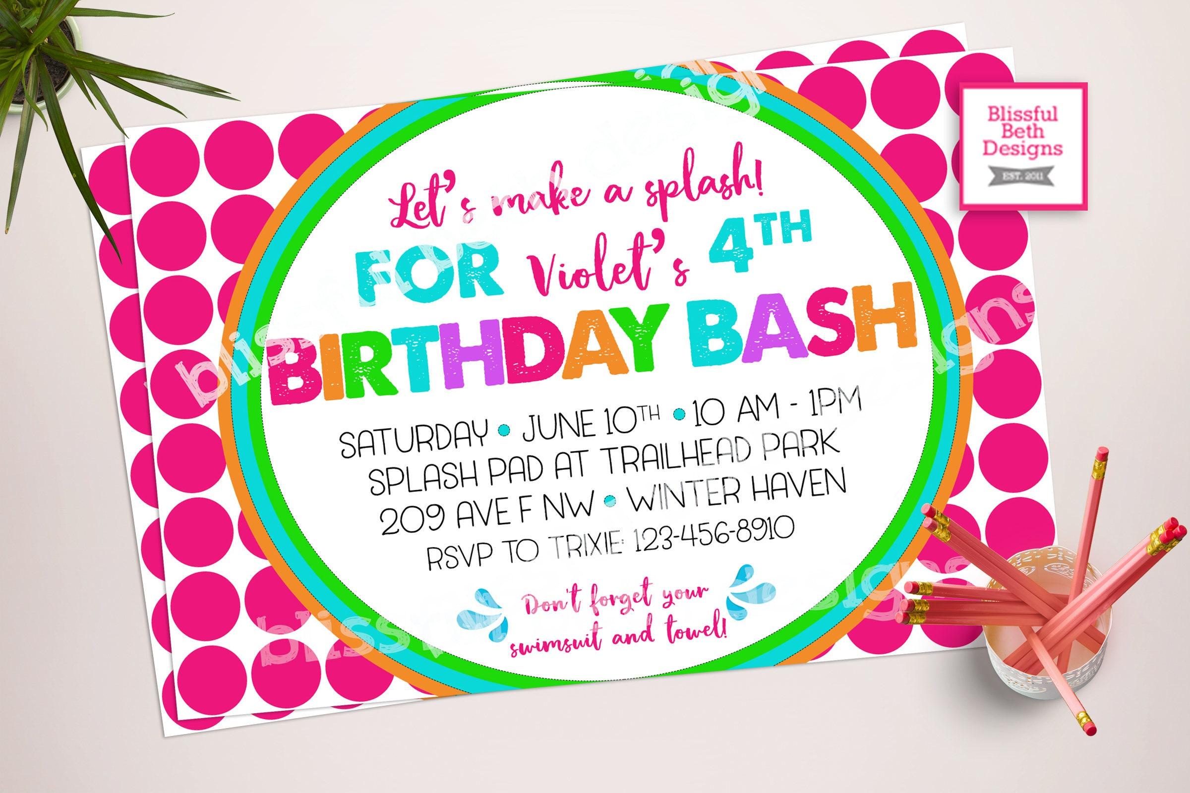POOL PARTY INVITATION, Splash Birthday, Birthday Bash, Girl ...