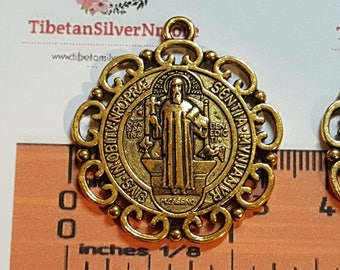 3 pcs per pack 32mm Reversible San Benito decorated edge Medallion Pendant Antique Gold Lead free Pewter