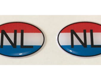 "Netherlands NL Domed Gel (2x) Stickers 0.8"" x 1.2"" for Laptop Tablet Book Fridge Guitar Motorcycle Helmet ToolBox Door PC Smartphone"