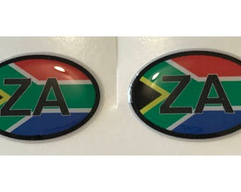 "South Africa ZA Domed Gel (2x) Stickers 0.8"" x 1.2"" for Laptop Tablet Book Fridge Guitar Motorcycle Helmet ToolBox Door PC Smartphone"
