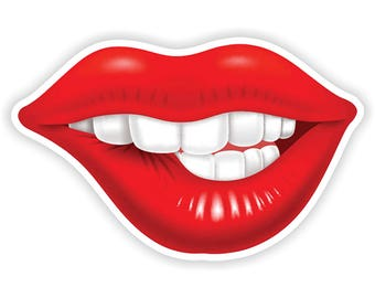 Girl Lips Sticker Vintage Sexy 6.5x10cm  (2.5 x 4inches) for Laptop Tablet Helmet Motorcycle Bumper
