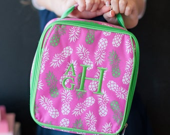 Personalized Lunch Bag ~ Monogrammed Pineapple Lunch Tote ~ Lunch Box ~ Kids Personalized Lunchbox ~ Pink and Green ~ FREE Personalization