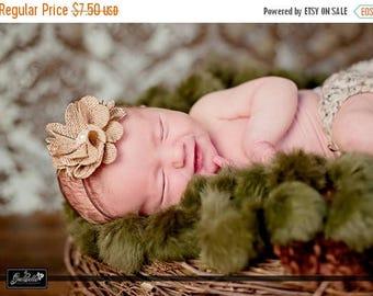SALE Burlap Flower Elastic Headband - Newborn Baby Girl Adult - Wedding Flower Girl - Photo Prop - Autumn Fall Thanksgiving