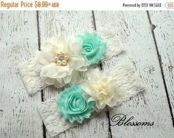 SALE PICK COLOR Bridal Garter Set - Seafoam Green Ivory Wedding Garter - Aqua Flower Rhinestone Lace Garters - Vintage Lace Garter - Toss Ga
