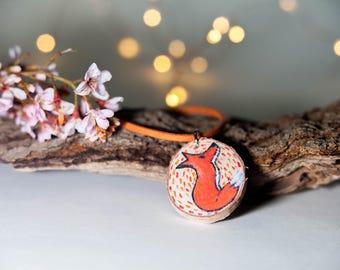 Foxy Necklace-wood jewelry-woodland animals-woodland creatures-fox art-fairytale jewelry-fairytale art
