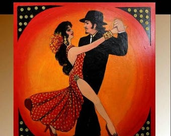 SALE Large painting Tango Dancers  oil on gallery canvas  painting,Wall Art,Wall Decor  by Nicolette Vaughan Horner