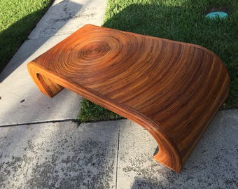 REED All ABOUT IT / Incredible Split Reed Crespi Style Waterfall Coffee Table / Excellent Vintage Condition / Casual Decor