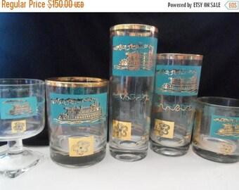 On Sale Vintage Aqua Steamboat Glasses Set of 37 Mid Century Modern Home Decor Dinnerware Tableware 1960's Rare Find
