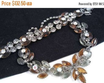 Now On Sale Brown, Grey & Aurora Borealis Rhinestone Necklace Bracelet Set - 50's 60's Demi Parure -  Unsigned Beauties - Old Hollywood Glam