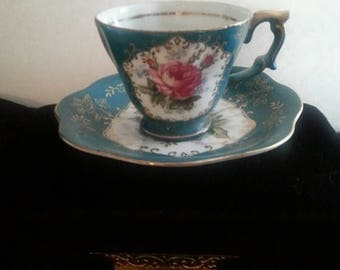 Now On Sale Fern Hand Painted Tea Cup & Saucer Set * Made In Japan * 1930's 1940's Art Deco Home Decor Collectibles