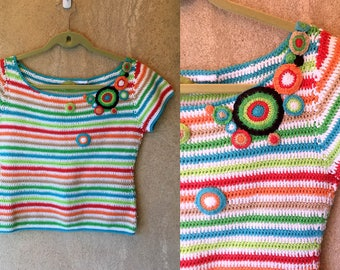 RAINBOW Striped Bohemian Hippie 70's Boxy Cropped Sweater Top Small