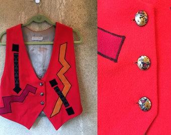Color Block Orange Shape Geometric Funky Mod Mini Vest