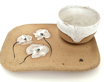 Soup & Sandwich Tray - Handmade Rustic | White Wild Flowers