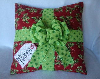 Christmas Package Throw Pillow Cover 18 By 18 Size  Christmas Present Throw Pillow No Peeking Grannies Embroidery