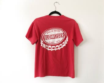 Red Budweiser Austin City Limits Music Festival 90's Vintage T-Shirt Mens Small Unisex