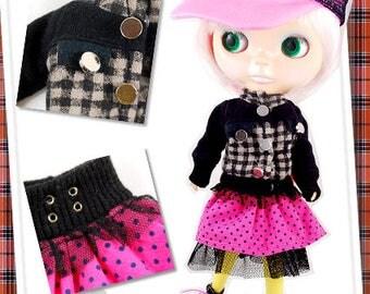 Clearance Sale - YAN - Checker Jacket / Polka Punk Skirt for Blythe doll