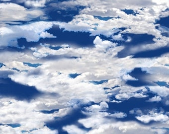 20 % off thru 7/4 OUR NATIONAL PARKS~dark royal blue sky with clouds  by the 1/2 yard Quilting Treasures fabric-24404-y