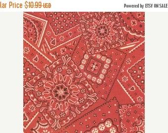 12% off thru July BUNK HOUSE faded red bandana cotton print one yard Moda 15490-11