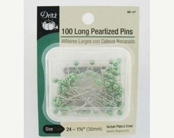 12% off thru July DRITZ - 100 long PEARLIZED straight PINS green pearl heads 1.5 inches long
