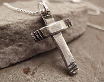 Modern Cross - Fine Silver Handmade Necklace Jewelry For Men or Women