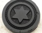 Wonderful Antique Black Glass Coat Button ~ Jewish Star of David Antiquarian Button ~ 1-1/16 inch 27mm ~ 6 Point Star Sewing Button