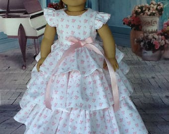 18 inch doll dress. Fits American Girl Dolls. 1957's Retro ruffled dress.