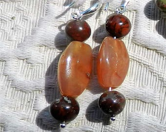 Agate Earrings with Sterling Silver Earwire