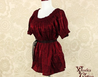 Steampunk Renaissance Cora Chemise in Burgundy Crinkled Shimmer Satin -- Custom Made in Your Size