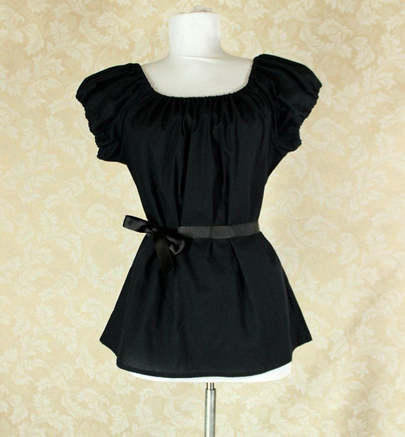 """Black Cotton Willow Chemise -- Sz. L -- Fits Bust 40""""-44"""" --  Ready to Ship"""