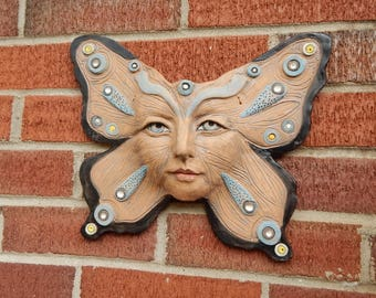 Fine Art Ceramics, Butterfly, Wall Art, Garden Face, Pottery