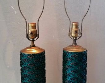 Pair of Mid Century Green Brass Wallpaper Roller Table Lamps