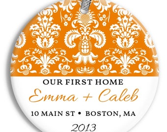 Our First Home Christmas Ornament - Damask Pattern - Personalized Porcelain Housewarming Holiday Gift - orn0120 - Peachwik - Custom Colors