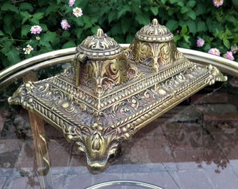 Antique Brass Double Ink Well Porcelain Inserts Baroque Ornate Desk Office Gift Movie Stage Prop