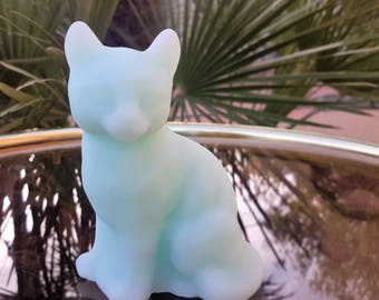 Vintage Fenton Blue Satin Glass Cat Figurine Kitten 1970's Collectible Glass