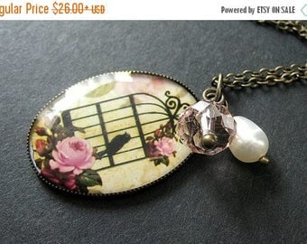 SUMMER SALE Birdcage Necklace in Pink and Bronze with Crystal Charm and Fresh Water Pearl. Handmade Jewelry.