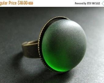 SUMMER SALE Evergreen Glass Ring in Bronze. Green Sea Glass Ring. Green Ring. Adjustable Ring. Handmade Jewelry.
