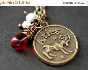 SUMMER SALE Aries Astrology Necklace. Zodiac Necklace with Glass Teardrop and Fresh Water Pearl. Aries Horoscope Necklace. Handmade Jewelry.
