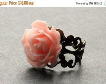 BACK to SCHOOL SALE Peachy Pink Rose Ring. Peach Pink Flower Ring. Filigree Ring. Adjustable Ring. Flower Jewelry. Handmade Jewelry.