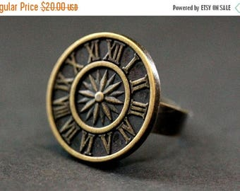 BACK to SCHOOL SALE Bronze Sundial Ring. Button Ring. Clock Ring. Sun Dial Ring. Adjustable Ring in Bronze. Handmade Jewelry.