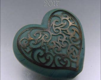 METALLIC NEPTUNE SCROLLS – Sandblasted Heart Shape Focal Bead - by Stephanie Gough sra fhfteam leteam