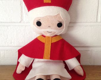 Catholic Felt Saint Doll - St. Nicholas - Wool Felt Blend