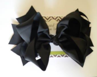 "SALE!! Jumbo Large 8"" Black Boutique Hair Bow"