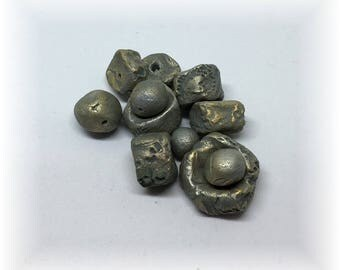 11 Artisan Handmade Rustic Ceramic Beads for Jewelry and Mixed Media