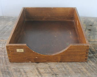 Vintage Wood Desktop Organizer In Out Tray