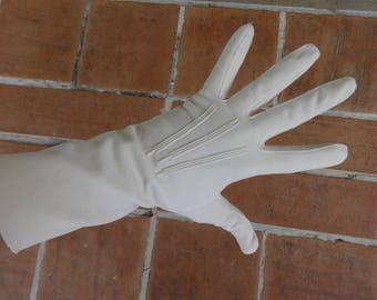 Vintage women's gloves cotton ivory 1950's size 7 1/2 retro accessories wedding bridal prom
