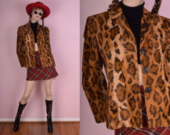 90s Faux Fur Animal Print Jacket/ XS/ 1990s/ Blazer
