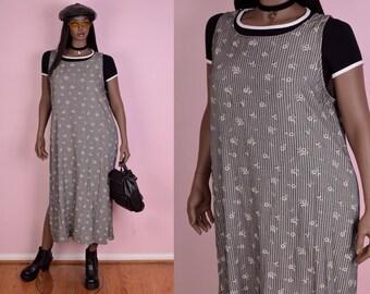 90s Striped Daisy Print Maxi Dress/ XL/ 1990s/ Tank/ Sleeveless