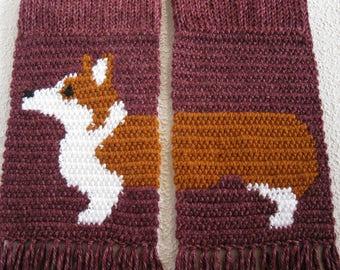 Welsh Corgi Scarf. Plum heather, crochet and knit scarf with a Pembroke welsh corgi.  Corgi dog gift.