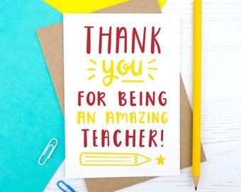 Amazing Teacher Card - Thank you teacher card - Thank you - End of term - Teacher gift - Best Teacher - Leaving school card