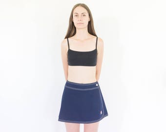 80s Navy Blue Tennis Skirt / High Waist Mini Skirt / 26 Waist